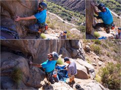 Rock Climbing Photo: Eyeing and working the start of the route.  Belaye...