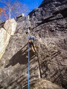Rock Climbing Photo: Hand Camming and foot jamming to make it up this c...