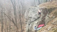 Rock Climbing Photo: In the middle of the weird crux.
