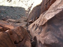 Rock Climbing Photo: Looking down at the second pitch of Super Natural.