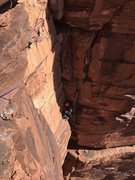 Rock Climbing Photo: Looking down at the third pitch of Super Natural.