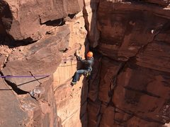 Rock Climbing Photo: Climbing the third pitch of Super Natural, making ...