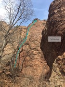 Rock Climbing Photo: Brian's Arete. The high first bolt is marked. ...