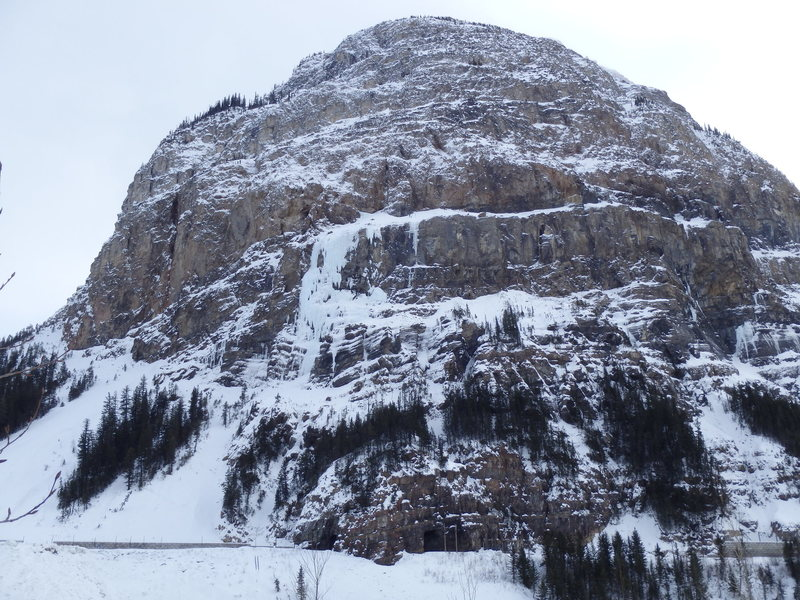 Mt. Stephen buttress, Twisted (all ice) is on the far left. Photo taken from parking lot.