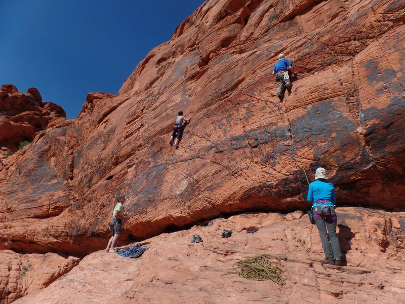"Tracey Robertson, (on left) leading ""T.R.Q."", 5.9+ and Tony Gardner, (on right) leading ""Hotel California""."