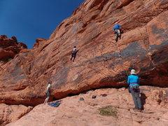 "Rock Climbing Photo: Tracey Robertson, (on left) leading ""T.R.Q.&q..."