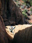 Rock Climbing Photo: R Shore following the crux P4 of The Omen. Pic: NK