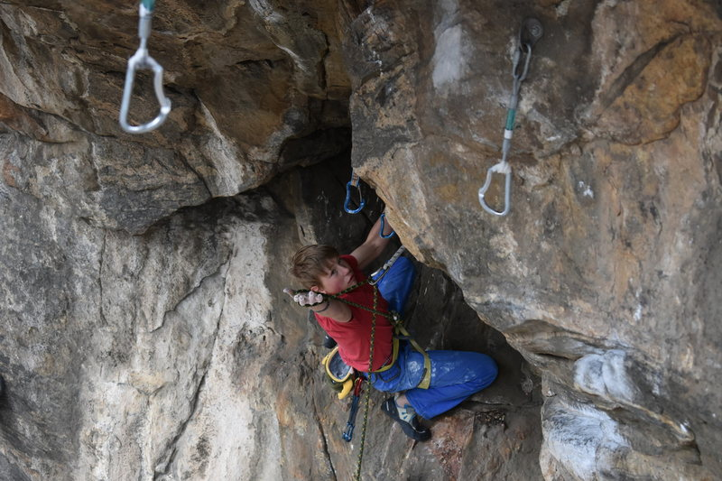 Rock Climbing Photo: Me on the actual FA!  Photo credit goes to Tanner ...