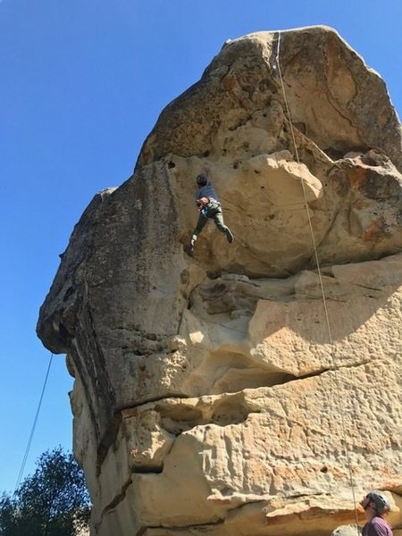 Tom&@POUND@39@SEMICOLON@s feet cutting at the crux move on a toprope burn on Mavericks. He stuck it though!