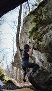 "Rock Climbing Photo: Tyler Hoskinson holding onto the swing on ""De..."