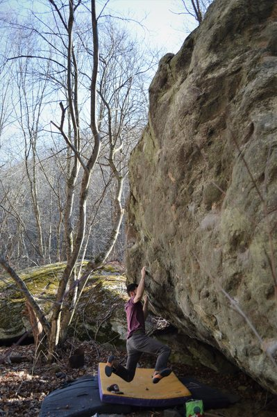"Rock Climbing Photo: Aaron Parlier on the FA of ""Bone Collector&qu..."