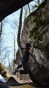 "Rock Climbing Photo: Tyler Hoskinson holding onto the swing for ""D..."