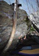 "Rock Climbing Photo: Tyler Hoskinson working through ""Death at Mid..."