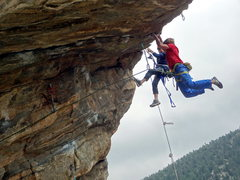 Rock Climbing Photo: Chris Deuto on the FA while Tanner Bauer captures ...