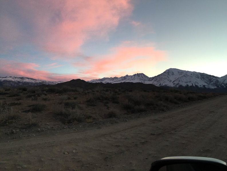 Sunset on the way to the Pit campground.