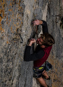 Rock Climbing Photo: Jack clipping the last bolt of 'Lacy Doggie Pa...