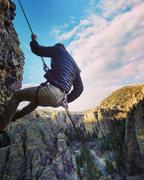 Rock Climbing Photo: Nate Layton repelling down Fish Pin.