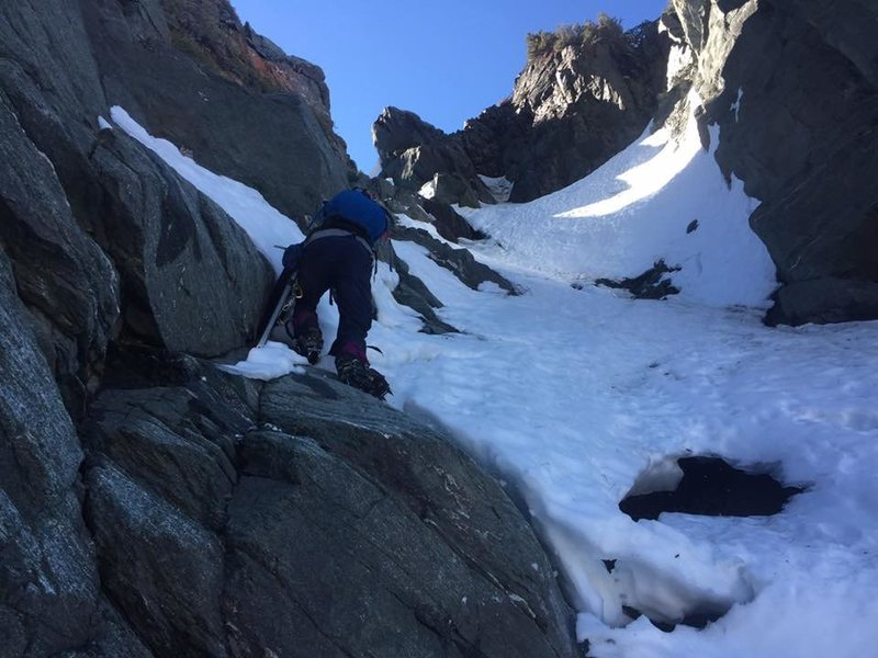farther up the crux chute, baldy north face