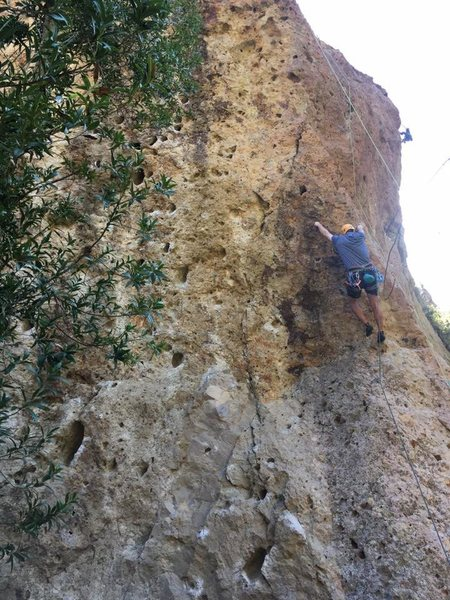 Rock Climbing Photo: Just after clipping the second bolt.