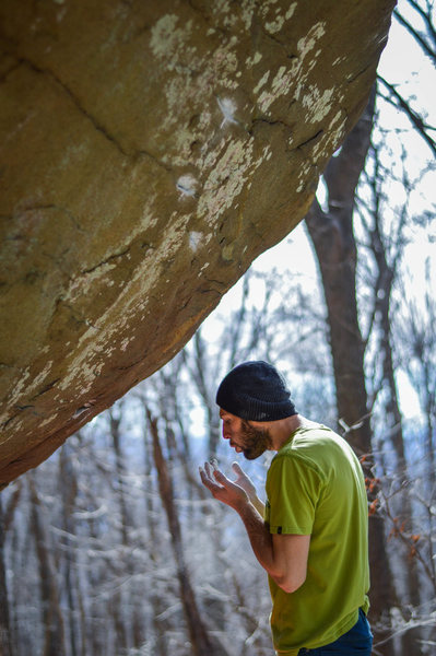 Elliot Gaunt standing under the nellys project that is now 5th year in the making V10