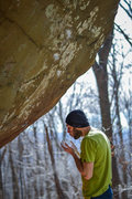 Rock Climbing Photo: Elliot Gaunt standing under the nellys project tha...