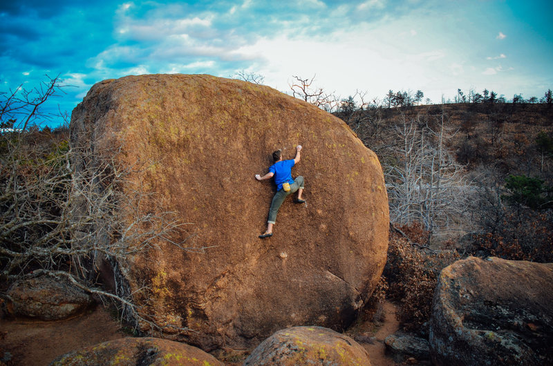 Rock Climbing Photo: Preston at the crux of Steak Dinner.
