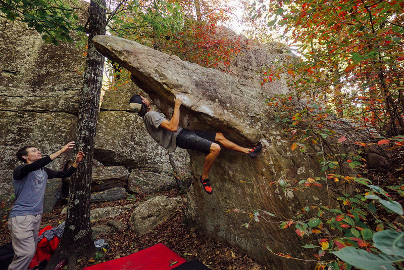 Ethan mid-dyno on Le Beak