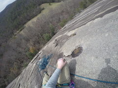 Rock Climbing Photo: Variation of pitch two that is 5.9 and trends up a...