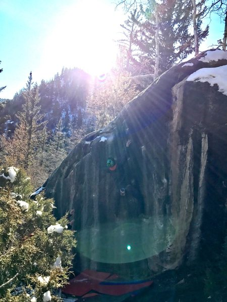 "Chilly day in Dairy Canyon on the aptly named ""Vertical Ice"""