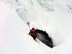 Rock Climbing Photo: Pay caution when approaching the first ice. Dave R...