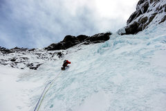 Rock Climbing Photo: Takakkaw Falls -- 1st pitch. Dave Rone, 3/17.