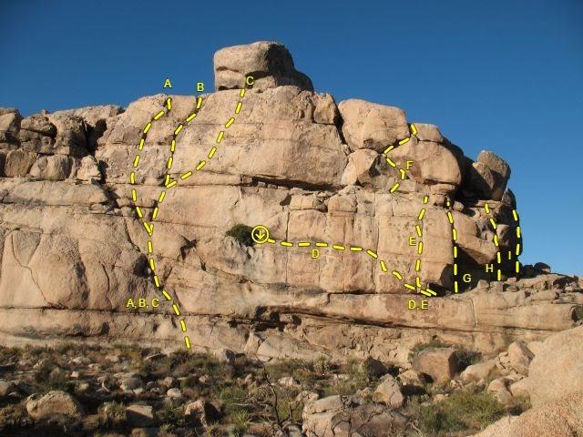 Rock Climbing Photo: SW Face Right (Monkey Business Wall), Joshua Tree ...