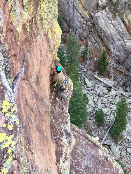 A different angle on the tricky crux move.