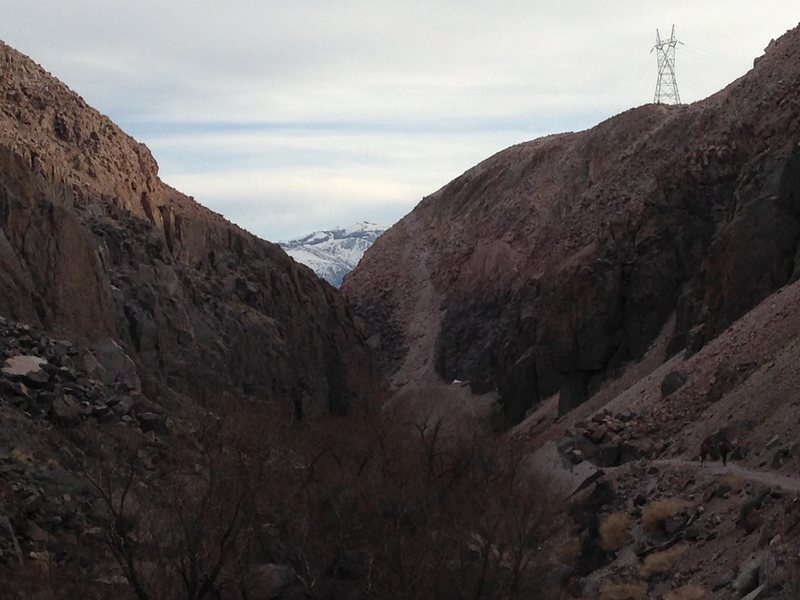 Looking south,Central Gorge approach by power lines.