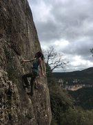 Rock Climbing Photo: LC heading up Spit de Bolra