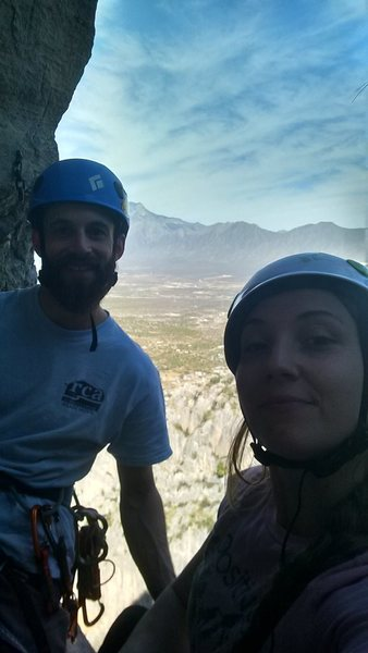 KLS and I at the top of the third pitch. 4th pitch is a lot easier after you get over the starting bulge.