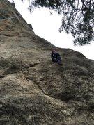 Rock Climbing Photo: Lauren, heading up the first bit of Farrelladura (...
