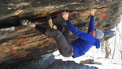 Rock Climbing Photo: Start in the deep right pocket. Follow the tick ma...