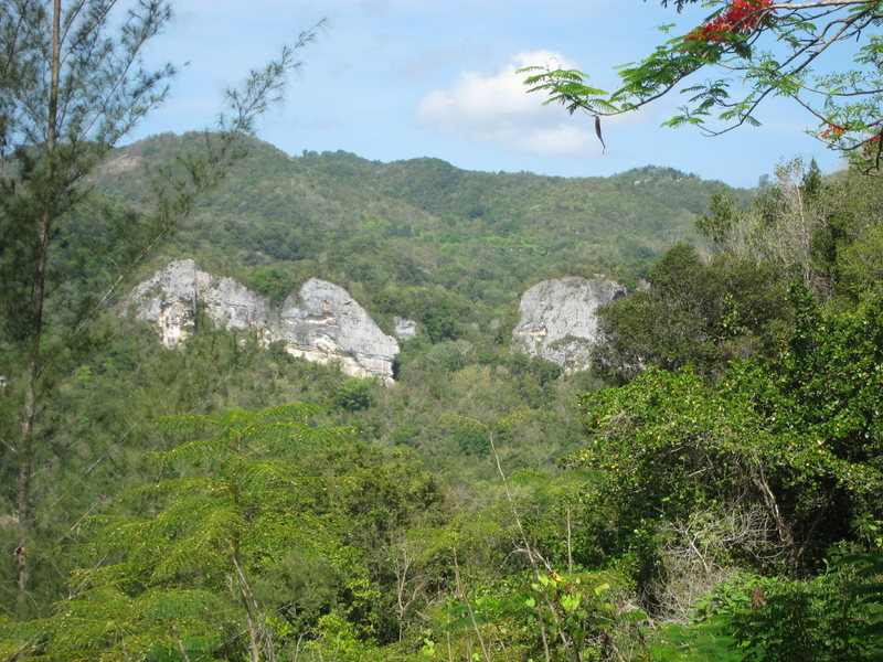 View of Caliche Crag from the overlook as you drop into the Ciales valley on hwy 149 from Manati.