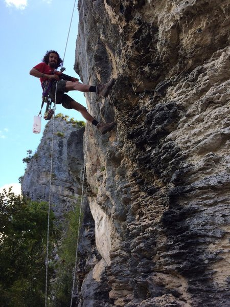 Rock Climbing Photo: Luis Benet replacing corroded steel bolts with lon...