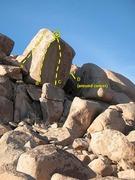 Rock Climbing Photo: Human Sacrifice Boulder, Joshua Tree NP  A. Defend...