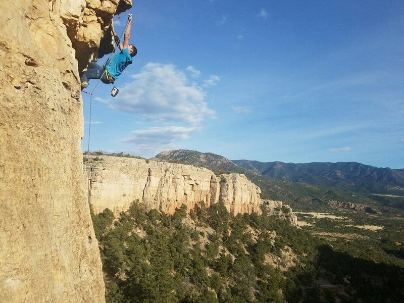 Rock Climbing Photo: Clipping the draw on the roof.  Credit to Joel All...