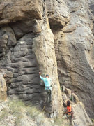 Rock Climbing Photo: Opening crux on the first ascent.