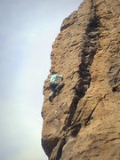 Rock Climbing Photo: Mid-way up the face on the FA, crux is at the smal...