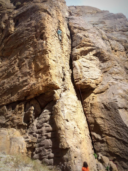 Showing most of the climb - at the rest before the upper crux