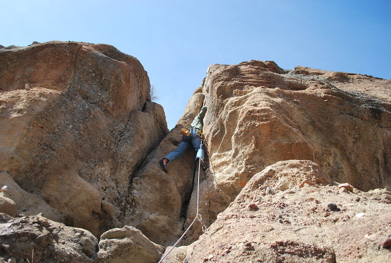 Pushing past the crux.