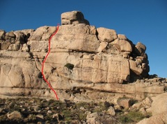 Monkey Business Wall, Southwest Face, Little Hunk, Echo Rock Area - top line depicts Roast Leg of Chair (RLOC) in all its 5.7 trad glory! <br />Photo credit C Miller