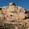 Monkey Business Wall, Southwest Face, Little Hunk, Echo Rock Area - top line depicts Roast Leg of Chair (RLOC) in all its 5.7 trad glory!<br> Photo credit C Miller
