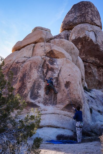 Rock Climbing Photo: Twin cracks and a slippery slab make for an intere...
