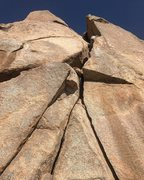 Rock Climbing Photo: Looking up at the awkward squeeze bulge move, abov...